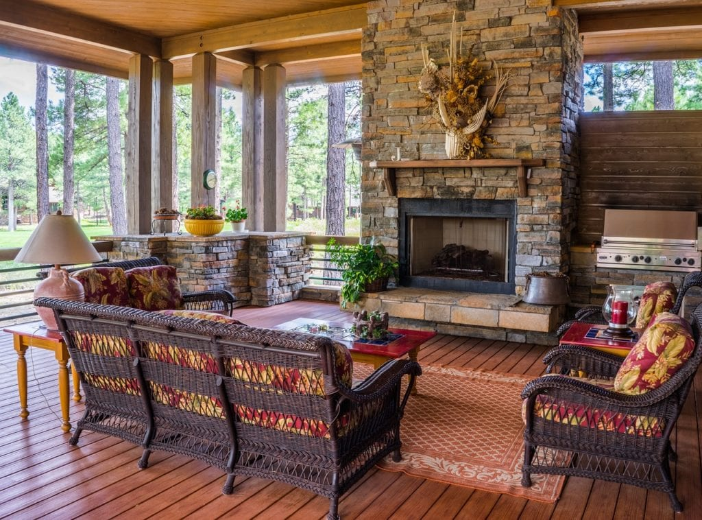 porch, fireplace, design